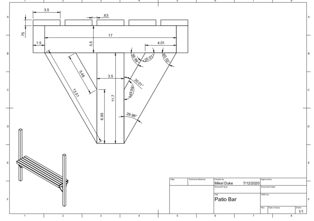 Patio bar technical drawing